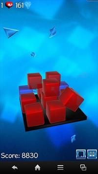 青いガラスブロックの破壊